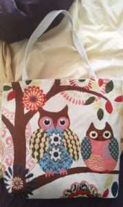 Becca's Owl Tote Bag for Craft night