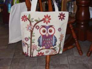Tish's Owl Tote Bag for Craft night