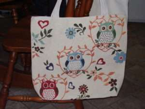 Rebecca's Owl Tote Bag for Craft night