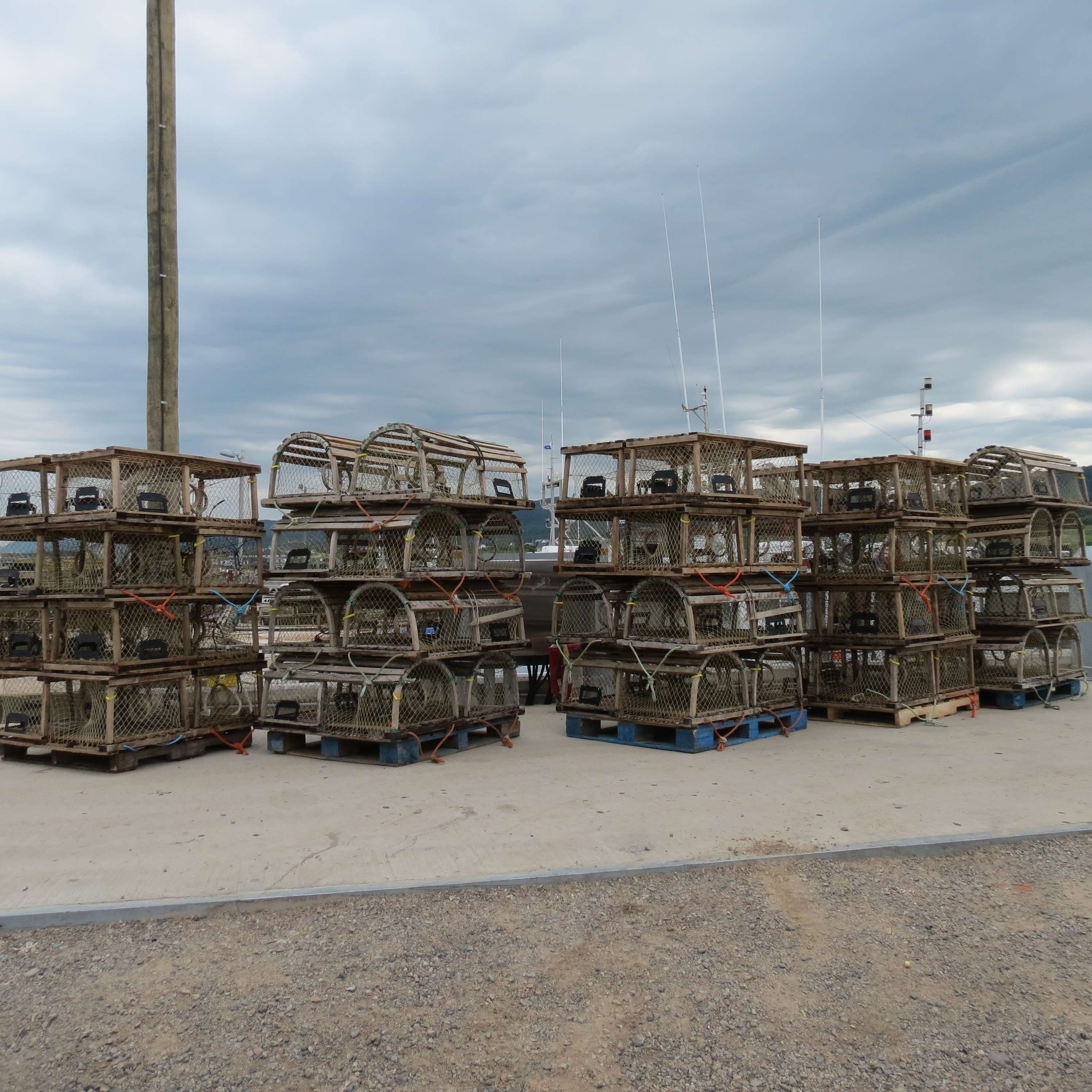 Lobster traps at the Belle Cote Wharf