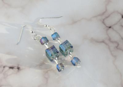 Ice Blue Cube Earrings