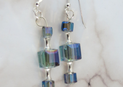 Ice Blue Cube and Silver Earrings